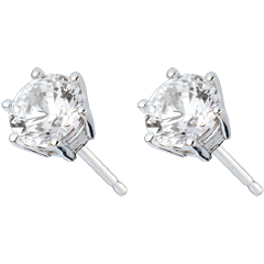 Stud Earrings white gold - 6 prong diamond - 2 carat