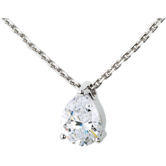 Teardrop diamond necklace-white gold - 1.25 carat