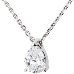 Teardrop diamond necklace-white gold - 1 carat