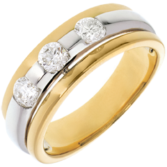 The Eclipse - Three stone Trilogy - yellow gold-white gold - 0.59 carat - 3diamonds