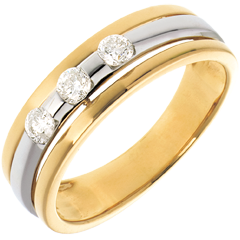 The Eclipse - Three stone Trilogy - yellow gold-white gold - 0.24 carat - 3diamonds