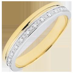 Trauring Eleganz Gelbgold und Diamanten - 18 Karat