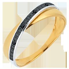 Trauring Saturn Quadri - Gelbgold - Schwarze & weiße Diamanten - 9 Karat