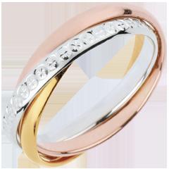 Trauring Saturn Rotation Variation - Großes Modell - Zweierlei Gold, 3 Ringe