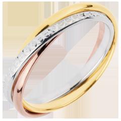 Trauring Saturn Rotation Variation - Kleines Modell - Dreierlei Gold, 3 Ringe