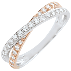 Trauring Saturnduett - Diamantendoppel - Rot- und Weißgold - 18 Karat