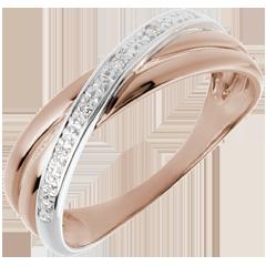 Trauring Saturnduett Variation - Rotgold - 4 Diamanten