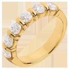 Trauring semi pavé in Gelbgold - Krappenfassung - 1.5 Karat - 6 Diamanten
