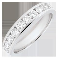 Trauring Weißgold Halbpavé - Kanalfassung - 0.67 Karat - 10 Diamanten