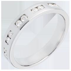 Trauring zur Hälfte mit Diamanten besetzt in Weissgold - Kanalfassung - 0.22 Karat - 10 Diamanten
