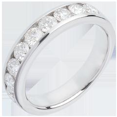Trauring zur Hälfte mit Diamanten besetzt in Weissgold - Kanalfassung - 1 Karat - 9 Diamanten