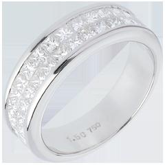 Trauring zur Hälfte mit Diamanten in Weissgold - Kanalfassung 2-reihig - 1.5 Karat