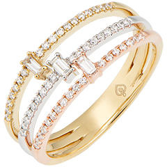 Trilogia ring - 3 golds and diamonds
