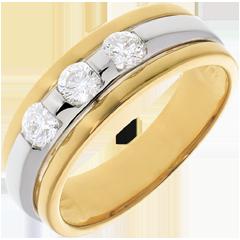 Trilogie Eclipse witgoud en geelgoud - 0.44 karaat - 3 Diamanten - 18 karaat goud