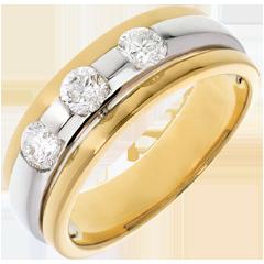 Trilogie Eclipse witgoud en geelgoud - 0.59 karaat - 3 Diamanten - 18 karaat goud
