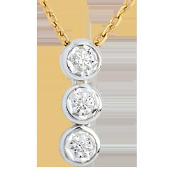 Trilogie Halsketting 18 karaat witgoud geelgoud - 3 Diamanten