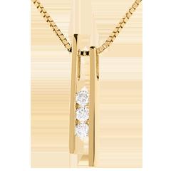 Trilogie Halsketting Stemvork - 18 karaat geelgoud - 3 Diamanten