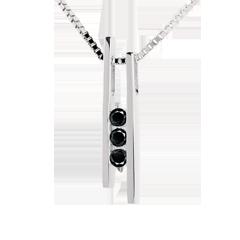 Trilogie Halsketting Stemvork 18 karaat witgoud - 3 zwarte Diamanten