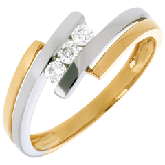 Trilogie Kostbarer Kokon - Zweifacher Schweif - Weiss- und Gelbgold - 3 Diamanten - 18 Karat