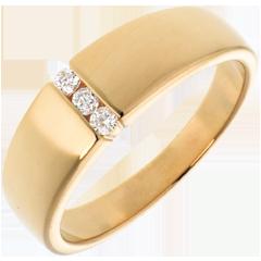 Trilogie mit Spannfassung in Gelbgold - 3 Diamanten