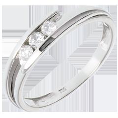 Trilogie Nid Précieux - Bipolaire or blanc - 3 diamants - 0.16 carat - 18 carats