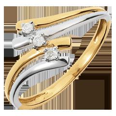Trilogie Ring Kostbarer Kokon - Firmament -Weiß-und Gelbgold - Diamant 0.05 Karat - 18 Karat