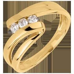 Trilogie Ring Kostbarer Kokon - Najade - Gelbgold- 3 Diamanten - 18 Karat