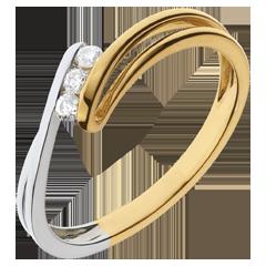 Trilogie Ring Kostbarer Kokon - Rauhreif - Gelb- und Weißgold - 3 Diamanten - 18 Karat