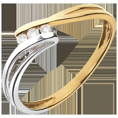 Trilogie Ring Kostbarer Kokon - Rauhreif -Weiß-und Gelbgold - Diamant 0.07 - 18 Karat