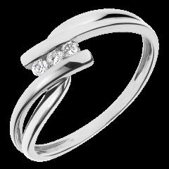Trilogie Ring Kostbarer Kokon - Tango - Weiß-und Gelbgold - 3 Diamanten 0.07 Karat - 18 Karat