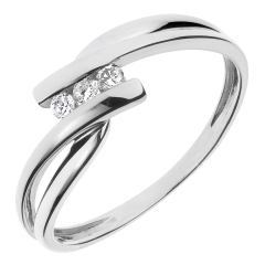 Trilogie Ring Kostbarer Kokon - Tango - Weißgold - 3 Diamanten 0.07 Karat - 9 Karat