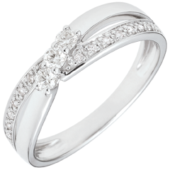 Trilogie ring Liefdesnest - Aurea - 18 karaat witgoud - 0.18 karaat Diamant