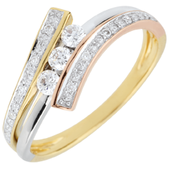 Trilogie Ring Liefdesnest - Odinia - 18 karaat 3 Goudsoorten