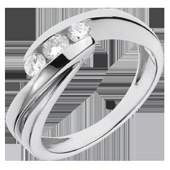 Trilogie Ring Liefdesnest - Ritounelle - 18 karaat witgoud - 0.32 karaat 3 Diamanten