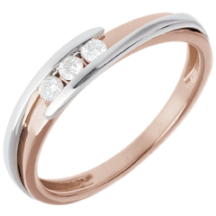 Trilogie Ring Liefdesnest - Tweepolig - 18 karaat witgoud rozégoud - 0.11karaat Diamanten