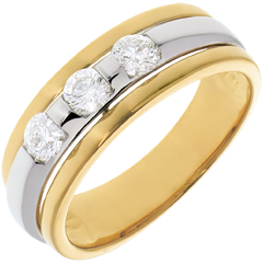 Trilogie Ring Sonnenfinsternis in Weiss- und Gelbgold - 0.44 Karat - 3 Diamanten