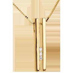Trilogy Halsketting Overeenkomst Geel Goud - 3 Diamanten