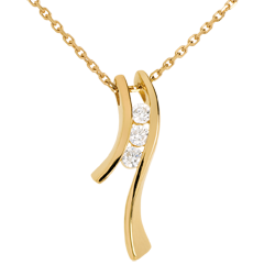 Trilogy Necklace Precious Nest - Dynamic aeria - yellow gold - 3 diamonds