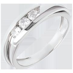 Trilogy Nid Précieux - Tweepolig - Wit Goud - 0.38 karaat - 3 Diamanten - 18 karaat