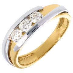 Trilogy Precious Nest - Interlocking - white gold and yellow gold - 0.54 carat - 3 diamonds - 18 carats