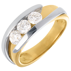Trilogy Precious Nest - Interlocking- yellow gold and white gold (Very big size) - 0.77 carat - 3 diamonds - 18 carats