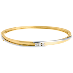 Trilogy Ring Armband Tweepolig Geel Goud - Wit Goud - 0.24 karaat - 2 Diamanten