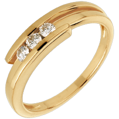 Trilogy Ring Precious Nest- Bipolar - yellow gold - 0.17 carat - 18 carats