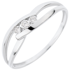 Trilogy Ring Precious Nest - Loving Kiss - white gold - 18 carats