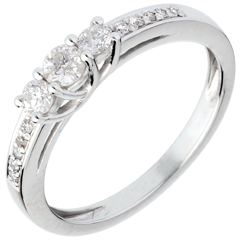 Trilogy ring white gold paved - 0.34 carat