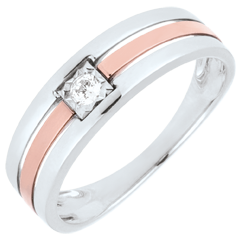 Triple row Ring - Pink gold and white gold