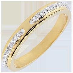 Trouwring Belofte - 9 karaat twee goudkleuren met Diamanten - klein model