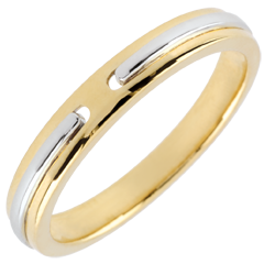 Trouwring Belofte - geel goud en wit goud - klein model