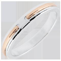 Trouwring Belofte - roze goud en wit goud - klein model - 18 karaat