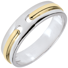 Trouwring Belofte - volledig goud - 18 karaat twee goudkleuren 18 karaat witgoud en 18 karaat geelgoud - zeer groot model